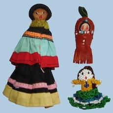 3 Vintage Native American Miniature Dolls 1930s-40s Seminole Papoose Bead