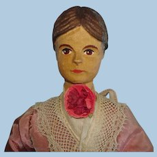 "8"" Huggler Swiss Linden Wood Dollhouse Size Doll Switzerland 1920s-on"