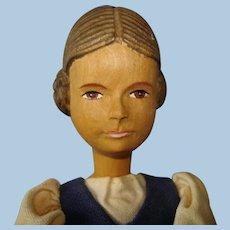 "8.5"" Huggler Linden Wood Swiss Doll Switzerland 1920s-on"