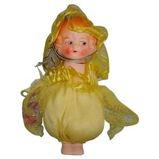 """7 1/2"""" Germany Painted Plaster Type Novelty Doll with Jointed Arms & Frozen Legs 1920s-on"""