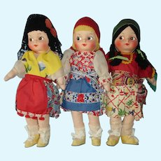 3 Vintage Mask Face International Cloth Dolls with ID's 1940s-on