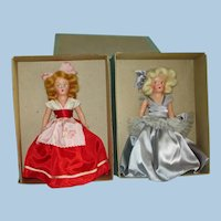 7 Vintage Composition Display Dolls Lot in Boxes 1940s-on