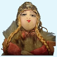 """Early 7 1/2"""" French Cloth Half Doll 1920s-on"""