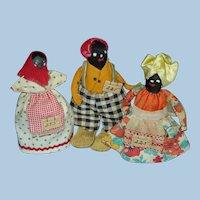 Three Miniature Nipple Dolls American Folk Art 1930s-on