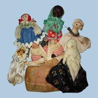 Potpourri of Five American Folk Art Primitive Miniature Dolls 1930s-on