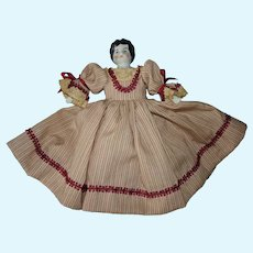 """Antique 7"""" Low Brow Dollhouse China Doll Germany 1890s-on"""