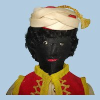 "Vintage 12"" Benefit Black Cloth Male Doll Women's Self Help Association Barbados 1930s"
