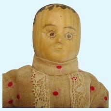 "Vintage 6"" Kentucky Poppet Wooden Dollhouse Doll Appalachian Folk Art 1920s-on"