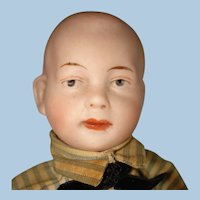 """Solid Dome 7"""" Bisque Head Character Boy Doll Germany 1890s-on"""