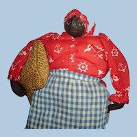 "Early 8"" Chunky Americana Nut Head Pin Cushion Folk Art Doll"