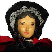 """Artist Helen Bullard 10"""" Notion Nanny Wooden Peddler Character Doll USA 1951"""