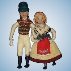 "Vintage Detailed 4"" Composition & Cloth Character Dolls European"
