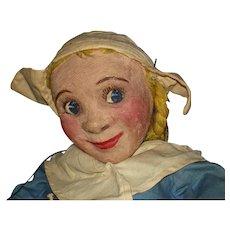Primitive Painted Stockinet Marionette Puppet American Folk Art