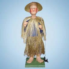 Chinese Fisherman in Box  Composition Doll China 1930