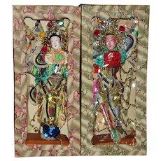 Pair of Chinese Opera Character Dolls Hong Kong China