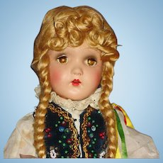 "18"" Sleep Eye Jointed Composition Doll in Ethnic Costuming USA 1940s"