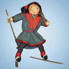 Ronnaug Petterssen Flat Face Sami Skier Cloth Girl Doll 1936 Norway