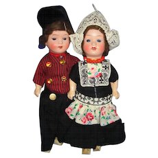 Painted Bisque Dutch Couple Dolls Germany 1920s-on