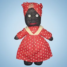 Vintage Black Stocking Cloth Mammy Doll USA 1950s-on