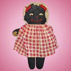 Berea College Tag Black Cloth Benefit Doll Kentucky 1930s American Folk Art