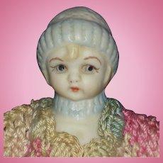 Artist Snow Baby Bisque & Cloth Half Doll Vintage