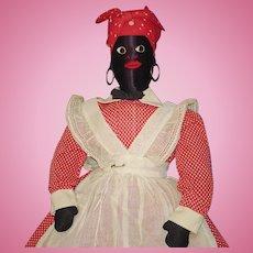 "17"" Black Sateen Mammy Doll American Folk Art 1930s-on"