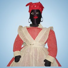 "17"" Black Sateen Mammy Doll American Folk Art 1930s-on"