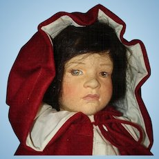 R John Wright Little Red Riding Hood Cloth Doll 1988