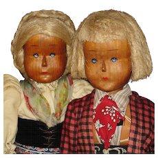 WWII Era Austrian Wooden Dolls with Provenance 1945