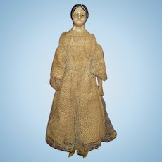 "6 1/4"" Milliners Model with Bun Papier Mache Dollhouse Size Doll Germany 1850s"
