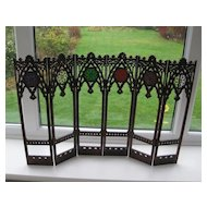 Rare fine carved and pierced rosewood screen for French poupee