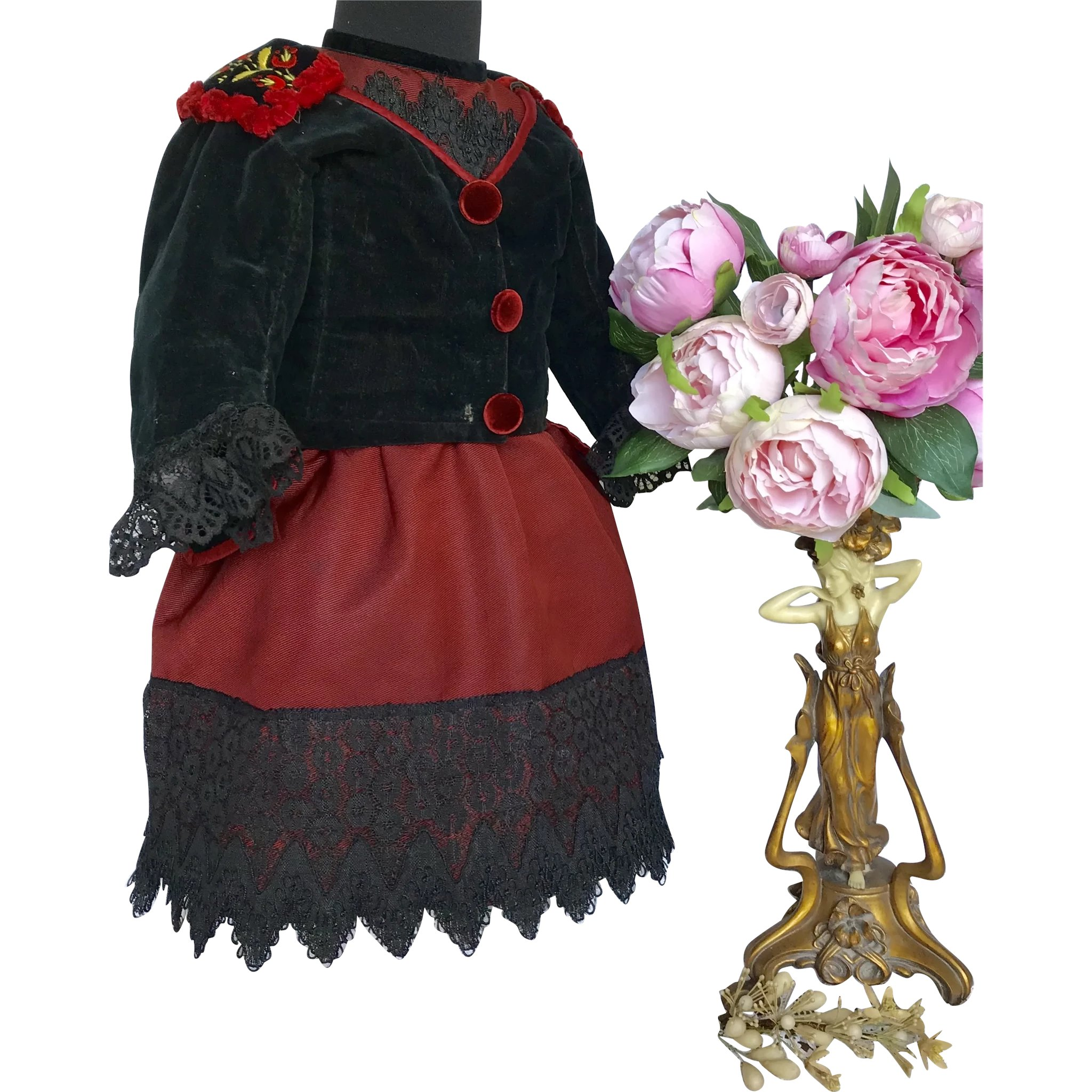 Antique black and red two piece outfit for large bebe  Grandmau0026#39;s parlour | Ruby Lane