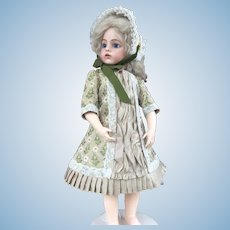 Dark champagne doll dress and hat in antique French silk faille brocade