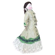 Cream and green striped silk day dress for French fashion