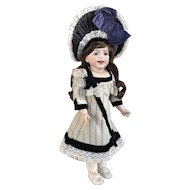 Blue antique french brocade doll dress and silk velvet hat