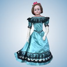 Ball gown for large poupee in antique turquoise silk satin