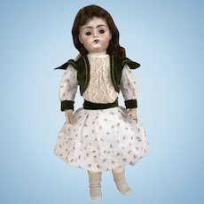 Doll dress in antique silk velvet and fine lawn
