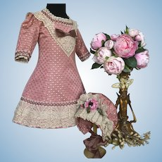Doll dress and bonnet in pink antique French brocade