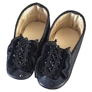 Beautiful large black heeled doll shoes