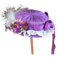 Lilac pleated silk doll hat