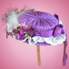 Lilac pleated silk doll hat
