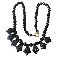 Black glass bead necklace for doll