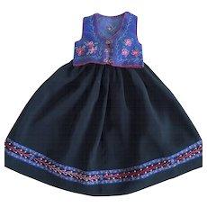 Vintage handmade black silk skirt and blue embroidered velvet vest - Red Tag Sale Item