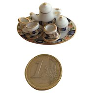 Miniature 1:12 scale tea set blue