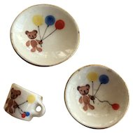Teddy bear and balloons miniature cup saucer and plate 1:12