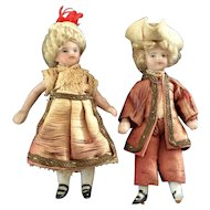 Pair French Lilliputian Mignonettes in 18th century costumes