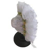 Beautiful frilly lace bonnet for size 1 Jumeau or similar