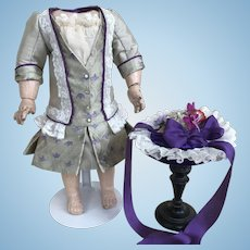 """Couture dress and bonnet to fit Jumeau 11""""body  14"""" doll"""