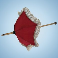 Red silk parasol umbrella