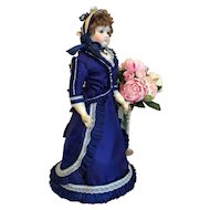 Royal blue silk costume and bonnet for French poupee